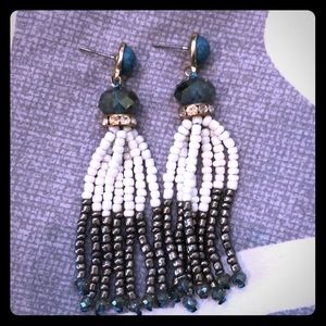 Jewelry - Turquoise and rhinestone beaded earrings
